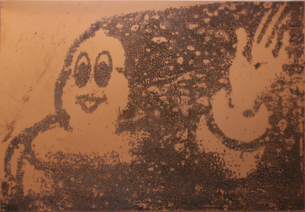 2019 Alfred Ullrich Geaetzte Kupferplatte 20cmx30cm Coloriert