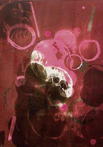 """Katrin Kratzenberg   """"Kreise ziehen"""", 2021, Serie aus mehreren Farbholzschnitten auf BFK-Rives Büttenpapier 72 x 56 cm"""