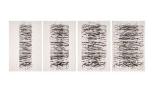 "Raimund Reiter   ""Spiralreplikation"" (Tetraptychon), 2020, Aquatinta-Radierung, je 85 x 22 – 54 cm (Platte), je 108 x 76 cm (Blatt)"