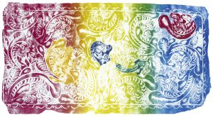 """Bruno Schachtner   """"PY-Barock"""", 2021, Buchdruck, Hochdruck, Zusammendruck, iris mit Einzeleinfärbung der 4 Objekte, 70 x 100 cm"""