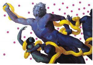 "Christian Sedelmayer | ""Blue & Yellow Fighting"", 2021 vielfarbiger Siebdruck, 88 x 124 cm"