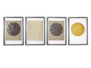 "Marian Wiesner | ""Präsenz"", 2021 Mixed-Media-Objekt, 100 x 70 cm, 4-teilig"