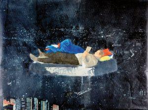 "Uta Zaumseil | ""o.T."", 2018, Linol auf Papier, 100 x 140 cm"