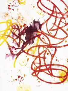 "Jess Walter | ""struggle"", 2020, Linoldruck, Öl, Lack auf Nessel, 200 x 150 cm"