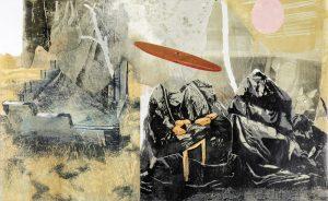 "Uta Zaumseil | ""Lockdown"", 2020, Linol-Collage, 62 x 101 cm"